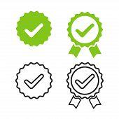 Checkmark Medal For Banner Design. Isolated Vector Illustration. Green Check Mark Icon. Certified Pr poster
