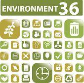 36 environment buttons. vector