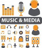 music & media signs. vector