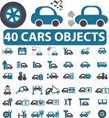 40 cars objects. vector