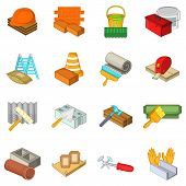 Repair Stuff Icons Set. Cartoon Set Of 16 Repair Stuff Vector Icons For Web Isolated On White Backgr poster