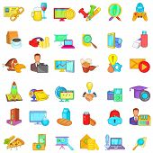 Working Spirit Icons Set. Cartoon Set Of 36 Working Spirit Vector Icons For Web Isolated On White Ba poster