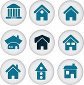 9 botões de casa bonito. vector