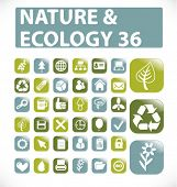 36 nature & ecology buttons. vector