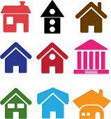 9 casas de bonitos. vector