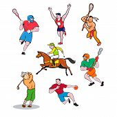 Set Or Collection Of Cartoon Character Sports Mascot Style Illustration Of Lacrosse Player, Marathon poster