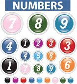 numbers glossy colorful buttons. vector