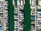 Aerial Top View Of Boats And Yachts In Marina. Yacht Parking, Marina Lot With Yachts, Sailboat And S poster