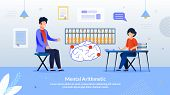 Advertising Flyer Inscription Mental Arithmetic. Developing Courses Practice Elements Game Format. C poster