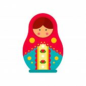 Traditional Russian Nesting Doll Icon. Flat Illustration Of Traditional Russian Nesting Doll Vector  poster