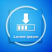 White Loading Icon Isolated On Blue Background. Download In Progress. Progress Bar Icon. Blue Square poster