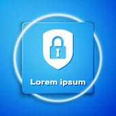 White Shield Security With Lock Icon Isolated On Blue Background. Protection, Safety, Password Secur poster