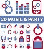 20 music & party signs. vector