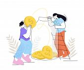 People Saves Money. Man And Woman Put Gold Coins In A Glass Jar. Saving Dollar Coin In Moneybox. Gro poster