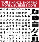 100 finance, shopping, money, business icons. raster version