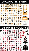 200 new computer & holidays signs. vector