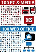 200 media & pc & web office signs. vector