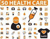50 health care & medicine signs. vector
