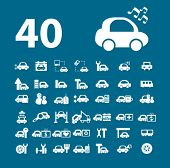 40 car signs. vector