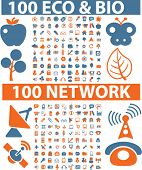 200 eco & bio & network signs. vector