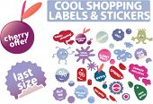 cool shopping stickers. vector