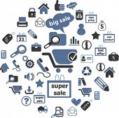 Einzelhandel & shopping Icons, Schilder, Vektor