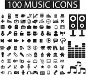 100 music icons, signs, vector