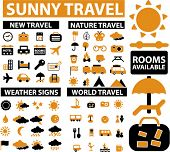 100 sunny travel signs, icons, vector