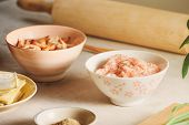 Wonton Wrapper And Shrimp On Table - Image poster