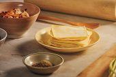 Hong Kong Style Wonton Ingredients: Shrimp, Ground Pork And Wonton Wrappers At Kitchen poster