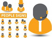 people, users, employees icons, signs, vector illustrations