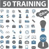 50 training icons, signs, vector illustrations