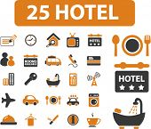 25 hotel icons, signs, vector