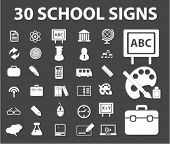 30 school signs, icons, vector