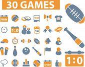 30 jogos, ícones, sinais, vetor