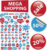 mega shopping icons, signs, vector illustrations
