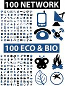 200 network & nature, ecology icons, buttons, vector illustrations