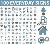 100 everyday icons, vector