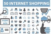 50 Internet shopping icons, signs, vector illustrations