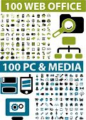 200 office & media icons, signs, vector