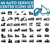 40 Auto Center Symbole, Schilder, Vektor-Illustrationen