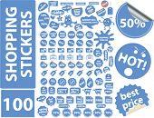 100 einkaufen Aufkleber Symbole, Zeichen, Vektorgrafiken