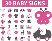 30 baby signs, icons, vector