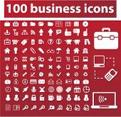 100 business icons, signs, vector illustration