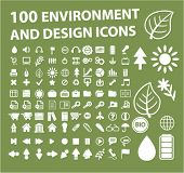 100 environment & design icons, signs, vector illustrations