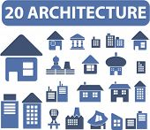 20 architecture icons, signs, vector illustrations
