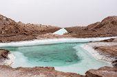 Salt Mine Water Pond In Dasht-e Kavir Desert, Isfahan Province, Iran. Version 2. poster