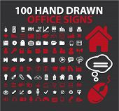 100 hand drawn office signs, vector