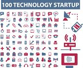 100 technology icons, signs, vector illustrations set