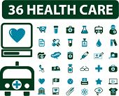 36 health care icons, signs, vector illustrations